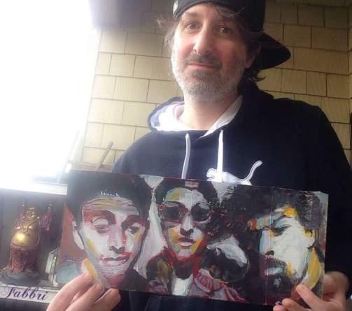 Mailed this one to Prague Czech Republic , Beastie Boys portrait painting, acrylic on cardboard by Chris Fabbri