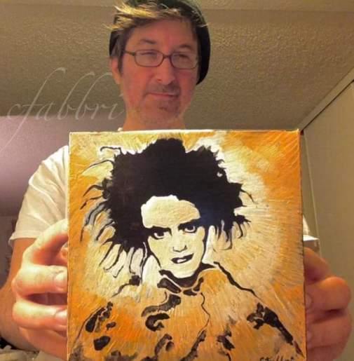 mailed this to NCarolina 2016 Robert Smith, acrylic on cardboard 6 1/2″x6 1/2″•