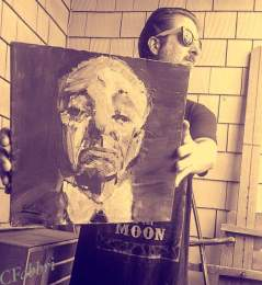 mailed this one to NCarolina 2013 Alfred Hitchcock, acrylic on cardboard 12″X12″ •