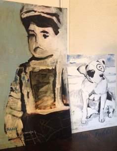 2016 Spanky, acrylic on cardboard 25″x13″ • 2018 Petey, acrylic on matte-board 16″x12″ • www.chrisfabbri.com