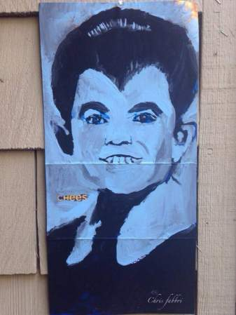 """Sold to a collector in Ohio 2015 Eddie Munster, acrylic on cardboard 14""""X7""""•"""