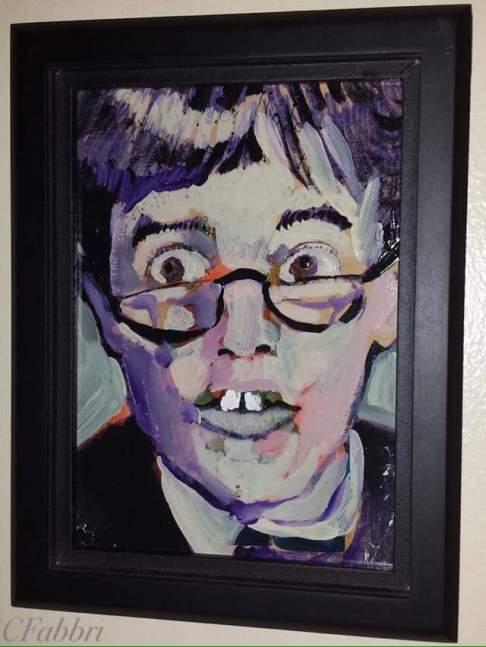 "2015 Jerry Lewis, acrylic on cardboard 7 1/2"" x 5 1/2"" •"