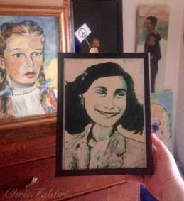 """painted in 2015 Anne Frank, acrylic on cardboard 11""""x8"""" •"""