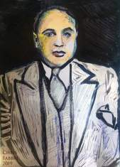 """2019 Al Capone, ink and oil on paper 6""""x4"""""""