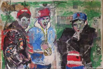 """2019 Beastie Boys, acrylic and ink on paper 24""""x36 """""""