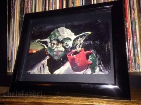 "2015 Yoda drinking coffee, acrylic on cardboard 6""x9"" •"
