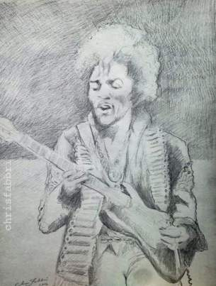 "2016 Jimi Hendrix, pencil on paper 24""x18"""