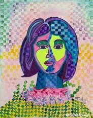 "2020 Groovy Girl, ink and acrylic on canvas 14""x11"""