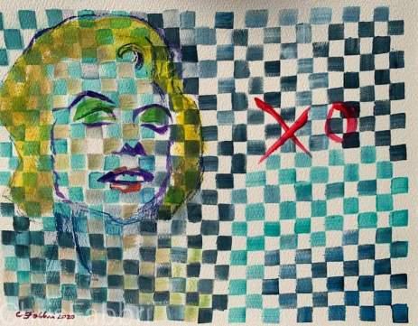 """2020 Monroe XO, acrylic on paper 16""""x20"""""""