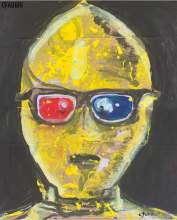 """2020 C3PO with 3-D glasses, ink and acrylic on cardboard 16""""x13"""""""