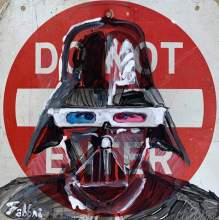 "2020 DarthVader 3D, oil and acrylic on metal 18""x18"""