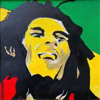 "2020 Bob Marley, acrylic on cardboard 20""x20"""