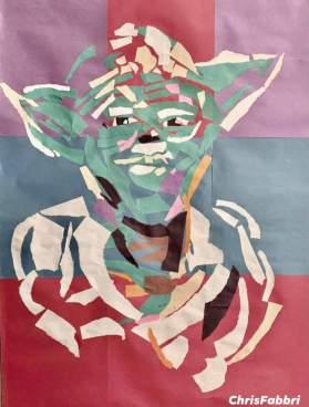 "2020 Yoda, paper collage 34""x26"""