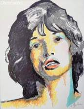 "2020 Mick Jagger, ink on canvas 14""x11"""