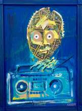 "2020 C3PO, acrylic and paper collage on cardboard with wooden frame 36""x24"""