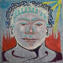 "2020 Buddha Daibutsu, acrylic on canvas 38""x38"""
